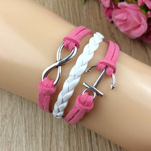 Simple design leather wax cord infinity anchor bracelets for girls.
