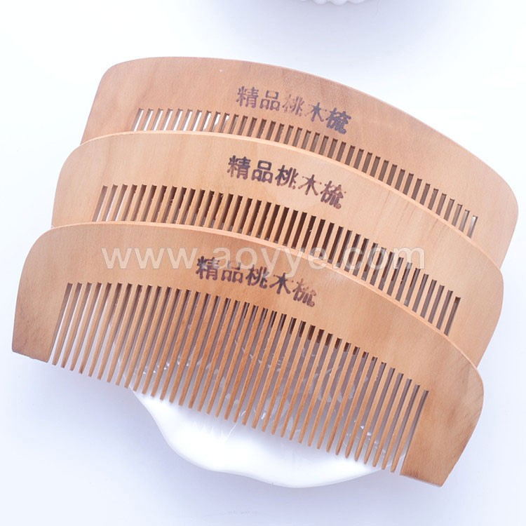 Best sell wholesale non-electrostatic hand made pecan peachwood wooden hair comb hair brush