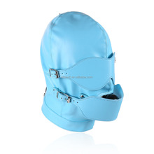 Blue Leather Head Hood Special Adjustable Rope Harness Bondage With Eye Mask Shiny Silicone Mouth Ball Gag Inside
