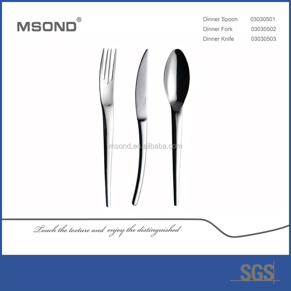 China hotel supplies high class Eco-friendly polished nice shinny ss knife and fork set