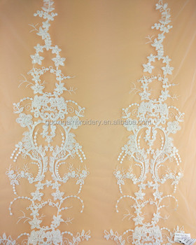 Tulle bridal beaded embroidery lace fabric for wedding dress 2017