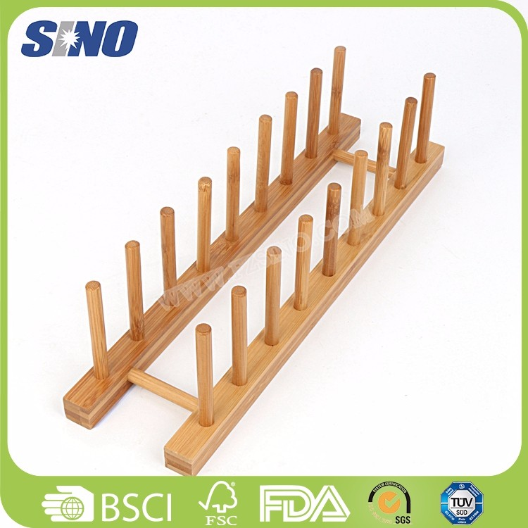 Wholesale Eco-friendly Bamboo Plate Adjustable Oval Dish Rack