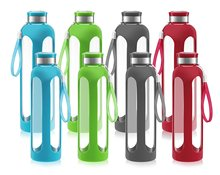 Heat Resistant Drinking Glass Sports Water Bottle with Silicone Sleeve