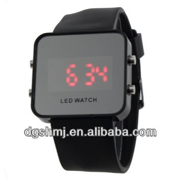 Hot Fashion Color Storm Men Women Mirror LED Silicone Band Digital Watch Black