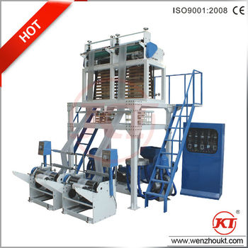 plastic film blowing machine with double die head