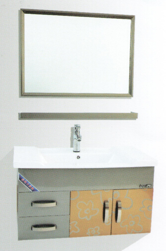 Silver color bathroom cabinets with stainless steel material