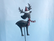 Xmas Holiday Santa Claus and Reindeer Elk Friends Metal Yard stake