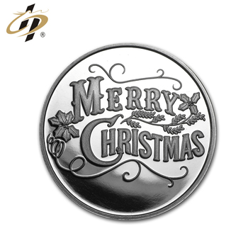 Christmas sliver metal stamping custom cheap coins for sale