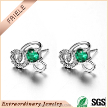 wholesale natural green stone 925 silver stud earring china cz jewelry