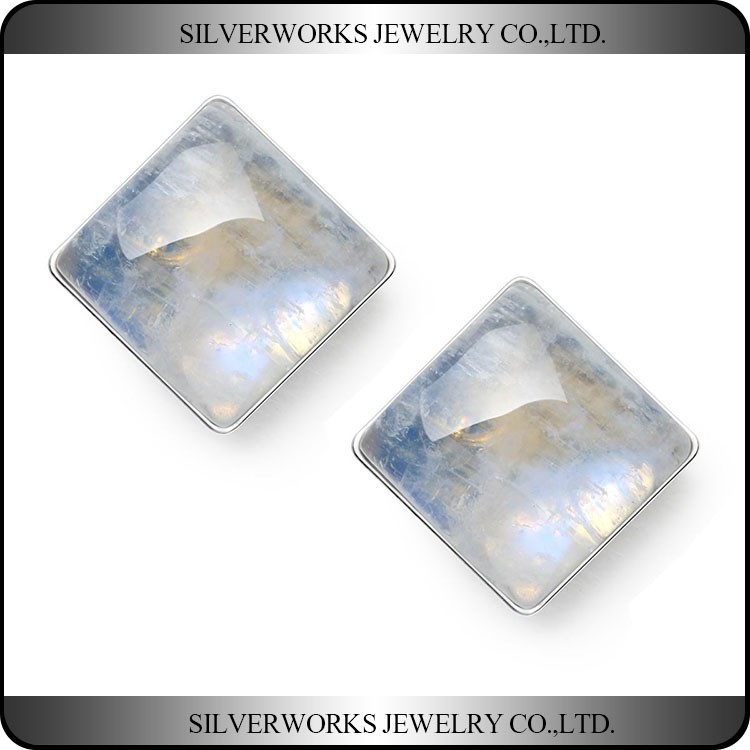 925 Sterling Silver Transparent White Square Moonstone Unique Stud Earrings