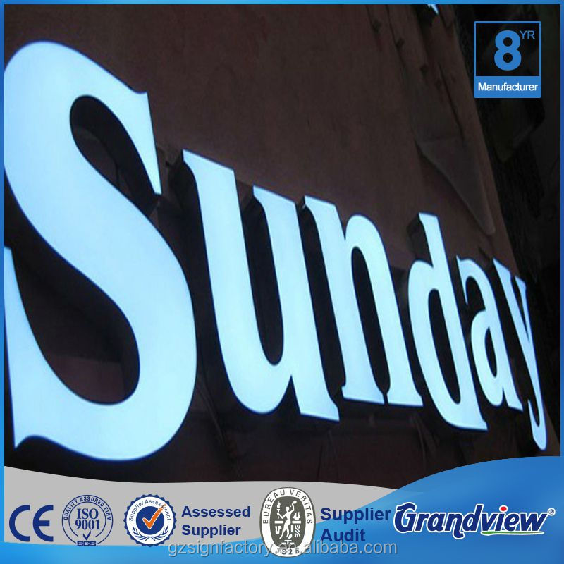 Guangzhou plastic sign white light 3D channel letter sign