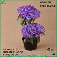 Wholesale hyacinth artificial flower ball in plastic pot for home decoration, fake fabric flowers