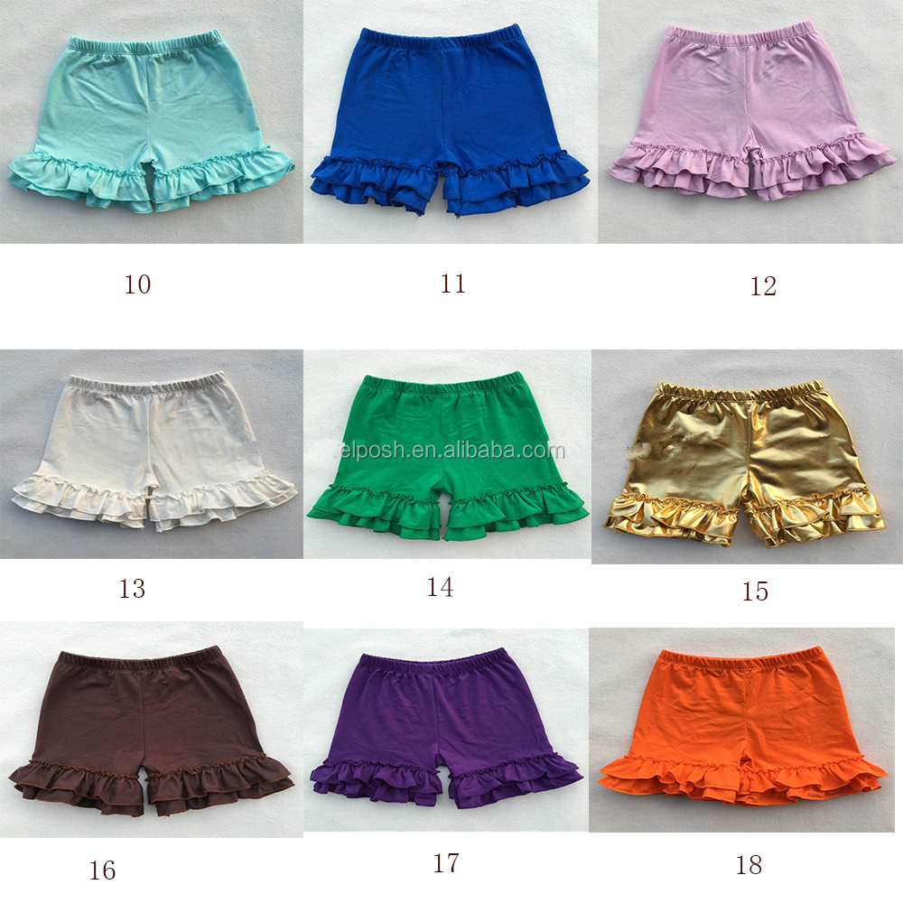Wholesale Monogrammed Girl's Double Ruffle Shorts