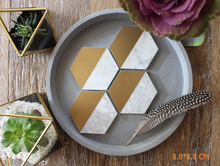 Kitchen accessories Concrete Hexagon Coasters with gold hand-painted Marble effect coaster