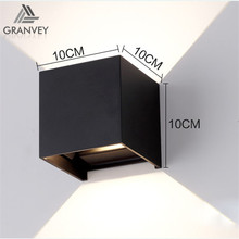 7W europe modern hotel room shine up and down led cube shell shaped wall lights