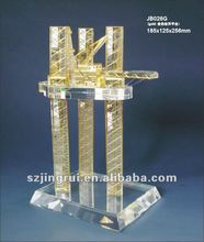 Beautiful gold plated k9 crystal oil rig model