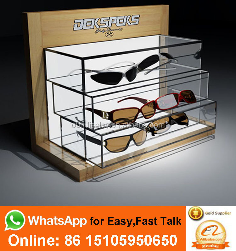 led light bamboo sunglass display stand drawer organizer acrylic wood sunglasses display