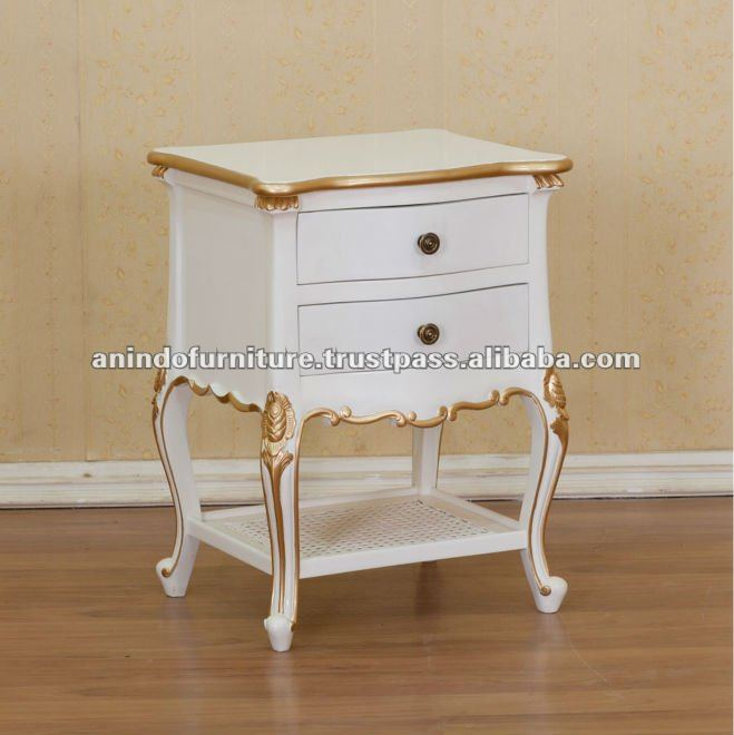 White Painted Bedside 2 Drawers 1 Shelf with Gold Leaf