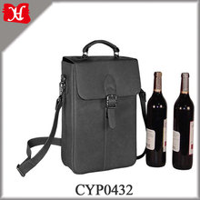 High Quality Wine Gift Packaging Boxes Deluxe Double Leather Wine Bottle Carrier Box Bag