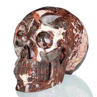 Natural Mongolia Colorful Stone Carved Human Skull Carving #1X06,Crystal Healing