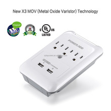 Newest Poweradd 3-Outlet Dual USB Ports power strip electrical wall sockets Wall Mount Surge Protector