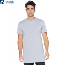Custom men's 100% cotton blank tall dri fit t shirt /long line high quality t shirt with side zips