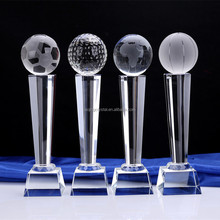 Fashion competition football/basketball/golfball crystal trophy for match honor