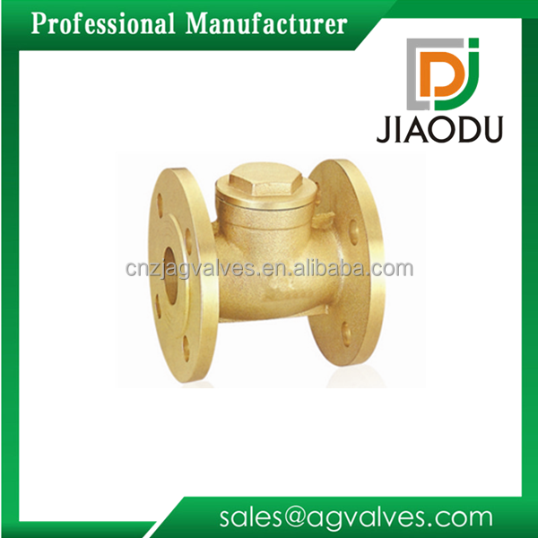High quality brass double flapper one way npt thread flanged check valve