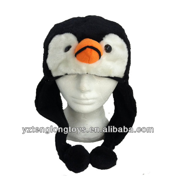 China Factory Wholesale Cute Penguin Plush Animal Hat With Ear Covering and Fleece Lining