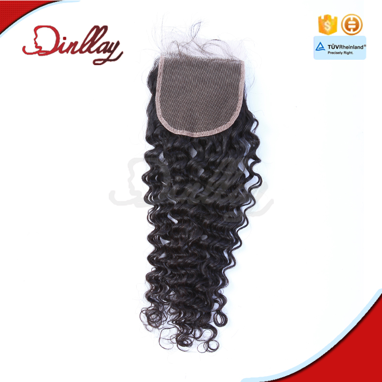 Wholesale 8a grade Peruvian hair deep wave lace closure