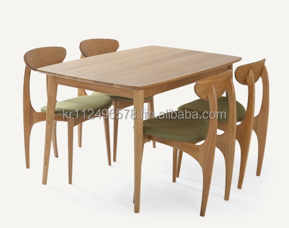 Scandinavian and contemporary mordern oak wooden dining table set