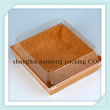 China fancy take out recycled brown kraft paper salad food box with clear lid