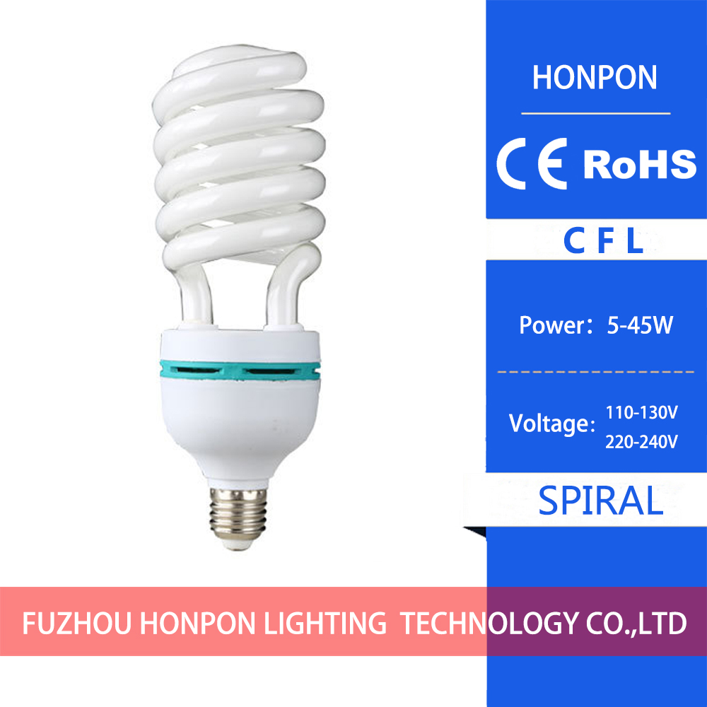 CFL 110-130V/220-240V Three colors in the half spiral energy-saving lamps B22 / E27 white light yellow light 5~45W
