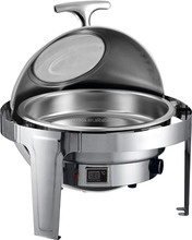 Stainless steel food warmer roll top glass lid chafing dish