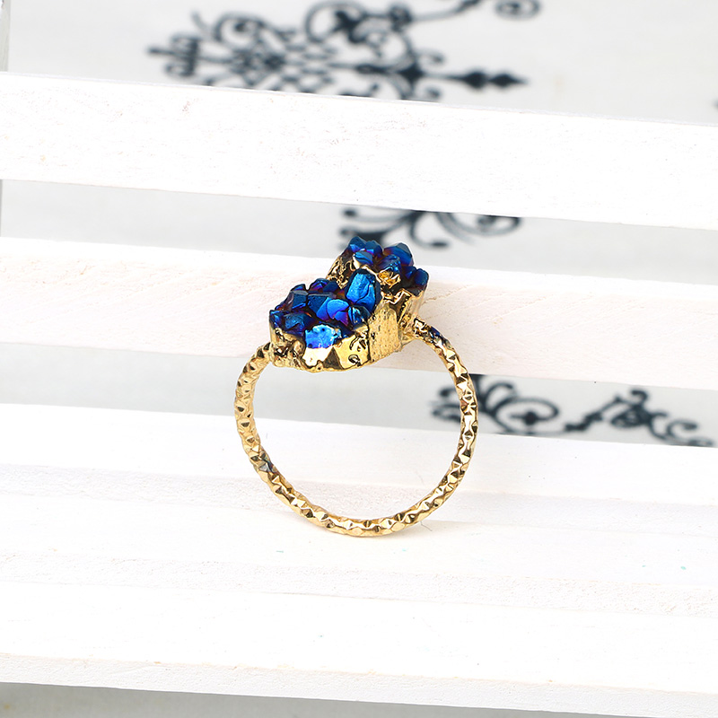 Fashion Brazil Double Druzy Stone Bead Ring Gold Plated Copper Geode Agate Women Jewelry Rings