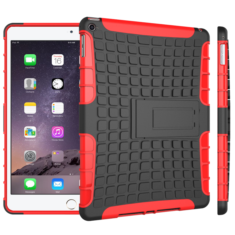 Shock Absorbing Ultra Hybrid TPU Bumper PC case stand for ipad 6 air 2