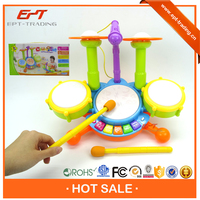 Hot selling electronic kids mini plastic drum set toy with light and music