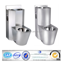 Vertical waste S trap stainless steel prison toilet