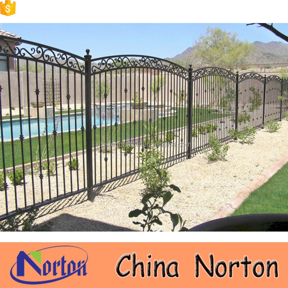 Galvanized pool decorations cheap wrought iron fence NTIF-018A
