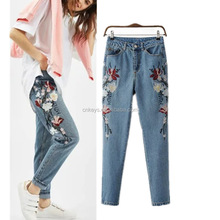 K2130A Latest Fashion Simple Embroidery Denim Jeans Women 2017