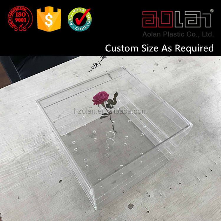 Factory Customized Clear Acrylic Rose Flower Box With Lid