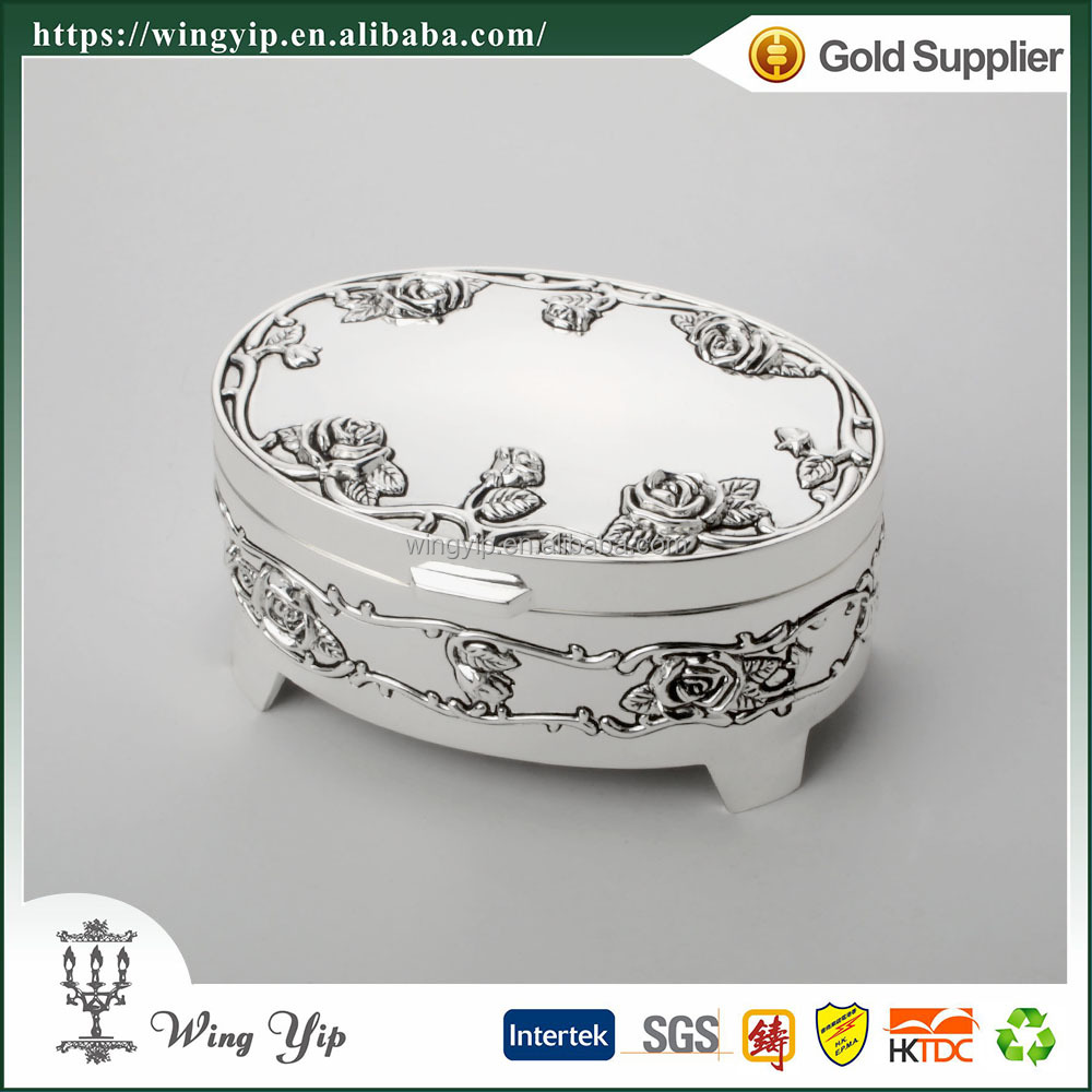 Wholesales Tailor made Oval Shape Rose Pattern Antique Silver Metal Trinket box for decoration