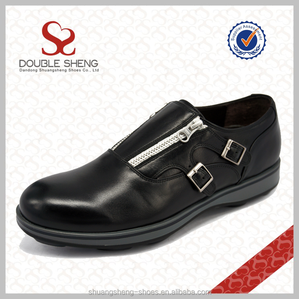 zipper business leather shoes from china shoe