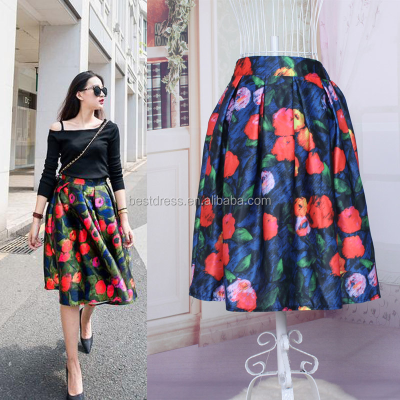 Floral red cherry print Vintage Sweet Summer skirt