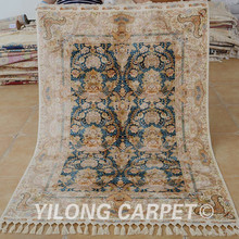 Yilong 4.3'x6.2' persian carpets all over turkish silk rug for sale