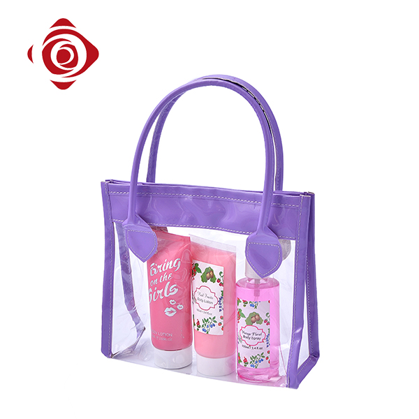 Stylish purple clear pvc women tote portable toiletry bags