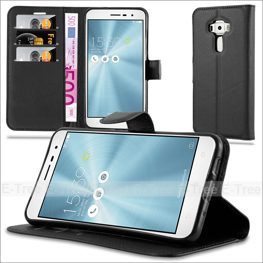 Lichee Wallet Pu Leather Flip Card Slot Stand Mobile Phone Case Cover For Asus Zenfone ZE520KL