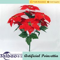 7 heads 45 cm long Christmas decoration artificial poinsettia with plastic flower pots