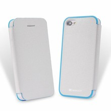 Pure white flip leather custom case for iphone 5c double color flip case