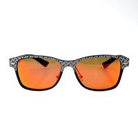 Carbon Fiber man Style Retro Fashion polarized mirrored orange Sunglasses